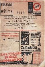 Spis abonentów sieci telefonicznych Dyrekcji Okręgu Poczt i Telegrafów w Katowicach na 1939 r.