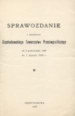 Sprawozdanie z działalności Częstochowskiego Towarzystwa Przeciwgruźliczego od 3 października 1926 do 1 stycznia 1929 r.
