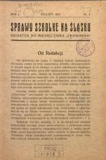 Sprawy szkolne na Śląsku, 1935, R. 1, nr 1