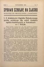 Sprawy szkolne na Śląsku, 1935, R. 1, nr 8
