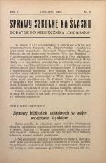 Sprawy szkolne na Śląsku, 1935, R. 1, nr 9