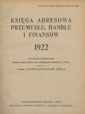 Księga adresowa przemysłu, handlu i finansów. 1922