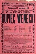 Kupiec wenecki. Komedya w 5. aktach W. Szekspira,przekład Józefa Paszkowskiego. Lwów 1892