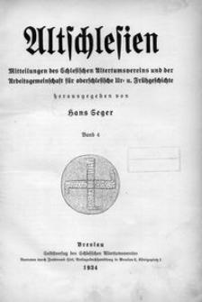 Altschlesien. Inhaltsverzeichnis Bd. 4 (1932/1934)