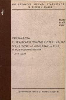 Informacja o realizacji ważniejszych zadań społeczno-gospodarczych w województwie bielskim, 1979, nr 2