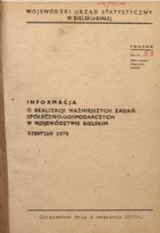 Informacja o realizacji ważniejszych zadań społeczno-gospodarczych w województwie bielskim, 1979, nr 8