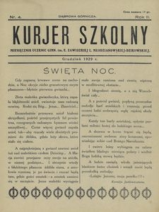 Kurjer Szkolny. Miesięcznik Uczennic Gimn. im. E. Zawidzkiej L. Młodzianowskiej-Dzikowskiej 1929, nr 4