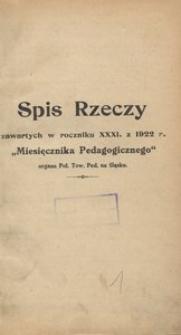 Miesięcznik Pedagogiczny, 1922, R. 31, Spis Rzeczy