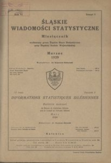 Śląskie Wiadomości Statystyczne, 1939, R. 6, z. 3