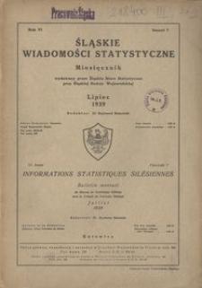 Śląskie Wiadomości Statystyczne, 1939, R. 6, z. 7