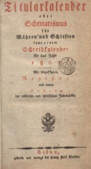 Titularkalender oder Schematismus für Mähren und Schlesien, samt einem Schreibkalender für das Jahr 1804