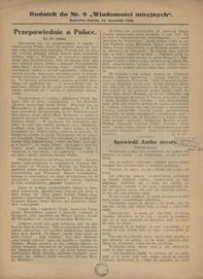 """Dodatek do Nr. 9 """"Wiadomości Misyjnych"""", 1926"""