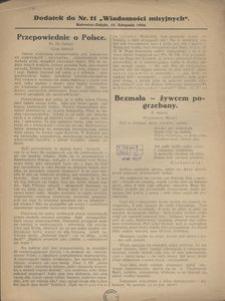 """Dodatek do Nr. 11 """"Wiadomości Misyjnych"""", 1926"""