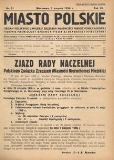 Miasto Polskie. Organ Polskiego Związku Zrzeszeń Własności Nieruchomej Miejskiej. Rocznik XII. Rok 1936, nr 31