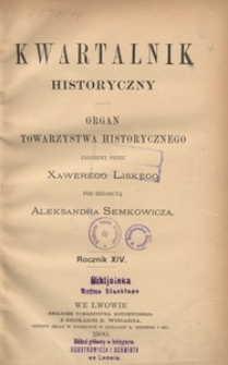 Kwartalnik Historyczny. R 14 (1900)