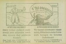4761000000000? Cztery tysiące siedemset sześćdziesiąt jeden miljardów marek niem[ieckich] wynoszą długi państwowe Niemiec!!... = Vier tausend siebenhundert einundsechzig Milliarden deutscher Reichsmark betragen die Schulden Deutschlands!!...