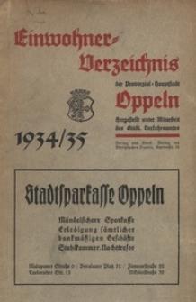 Einwohner-Verzeichnis der Provinzial-Hauptstadt Oppeln. 1934/35