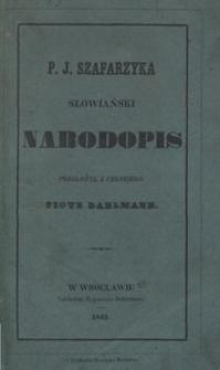 P. J. Szafarzyka słowiański narodopis