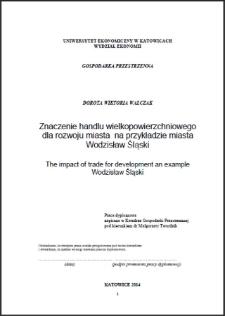 Znaczenie handlu wielkopowierzchniowego dla rozwoju miasta na przykładzie miasta Wodzisław Śląski