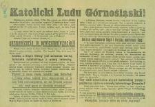 Katolicki Ludu Górnośląski! = An die katholischen Oberschlesier!