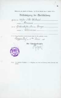Akt zawarcia małżeństwa z 5.06.1910 r.