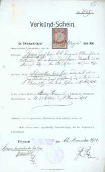 Akt zawarcia małżeństwa z 1.11.1908 r.