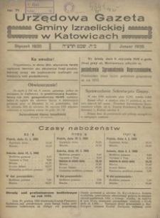 Urzędowa Gazeta Gminy Izraelickiej w Katowicach, 1935, nr 71