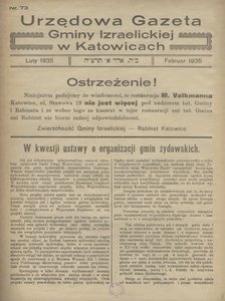 Urzędowa Gazeta Gminy Izraelickiej w Katowicach, 1935, nr 73