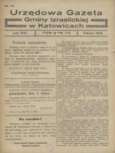 Urzędowa Gazeta Gminy Izraelickiej w Katowicach, 1935, nr 74