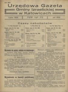 Urzędowa Gazeta Gminy Izraelickiej w Katowicach, 1935, nr 83