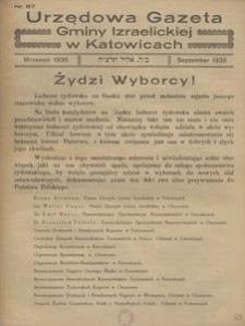 Urzędowa Gazeta Gminy Izraelickiej w Katowicach, 1935, nr 87