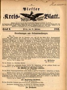 Plesser Kreis-Blatt, 1882, St.6