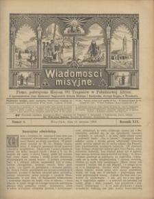 Wiadomości Misyjne, 1908, R. 19, nr 8