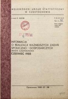 Informacja o realizacji ważniejszych zadań społeczno-gospodarczych miasta Częstochowa, czerwiec 1988