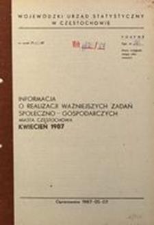Informacja o realizacji ważniejszych zadań społeczno-gospodarczych miasta Częstochowa, kwiecień 1987