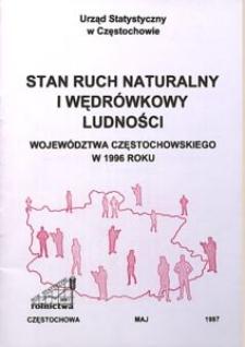 Stan, ruch naturalny i wędrówkowy ludności województwa częstochowskiego w 1996 roku