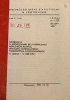 Informacja o kształtowaniu się syntetycznych wskaźników rozwoju społeczno-gospodarczego województwa częstochowskiego, 1989, nr 4