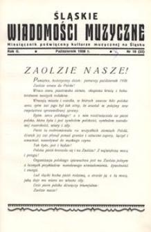 Śląskie Wiadomości Muzyczne, 1938, R. 2, nr 10