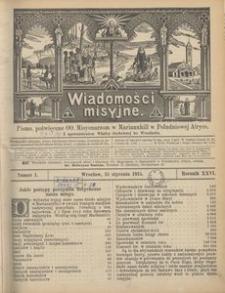 Wiadomości Misyjne, 1915, R. 26, nr 1
