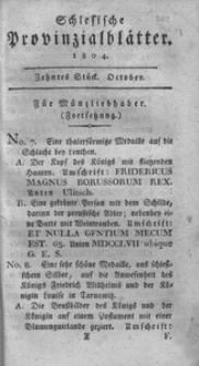 Schlesische Provinzialblätter, 1804, 40. Bd., 10. St.: October