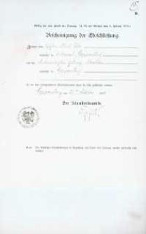Akt zawarcia małżeństwa z 22.10.1906 r.