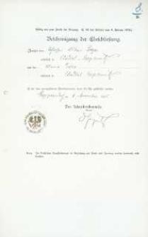 Akt zawarcia małżeństwa z 6.11.1905 r.