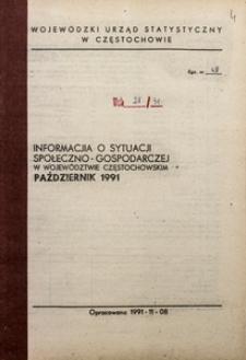 Informacja o sytuacji społeczno-gospodarczej w województwie częstochowskim, Październik 1991