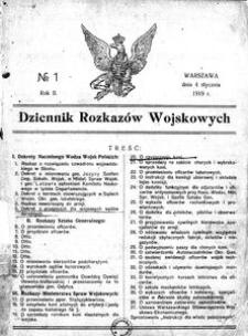 Dziennik Rozkazów Wojskowych, 1919, R. 2, nr 1