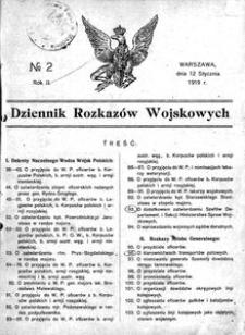 Dziennik Rozkazów Wojskowych, 1919, R. 2, nr 2