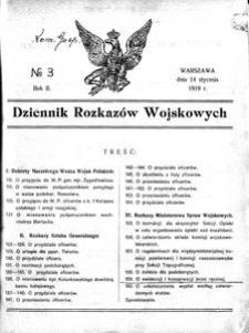 Dziennik Rozkazów Wojskowych, 1919, R. 2, nr 3