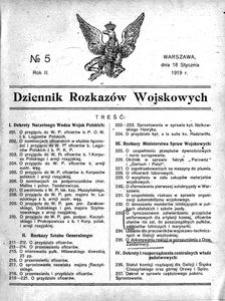 Dziennik Rozkazów Wojskowych, 1919, R. 2, nr 5