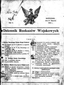 Dziennik Rozkazów Wojskowych, 1919, R. 2, nr 6