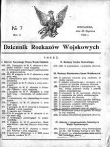 Dziennik Rozkazów Wojskowych, 1919, R. 2, nr 7