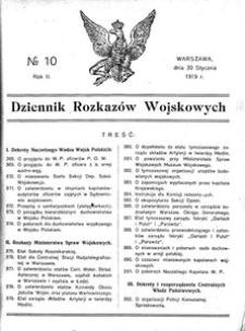 Dziennik Rozkazów Wojskowych, 1919, R. 2, nr 10